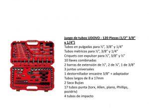 JGO DE TUBOS (1/2″ 3/8″ Y 1/4″) – 120 PZAS  UDOV