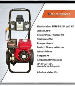 HIDROLAVADORA A EXPLOSION AGUA FRIA 140 BAR 7HP KUSHIRO