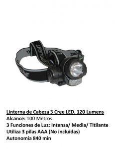 LINTERNA DE CABEZA 3 LED 120 LUMENES. UDOVO