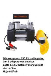 MINICOMPRESOR 12V/150 PSI DOBLE PISTON KUSHIRO